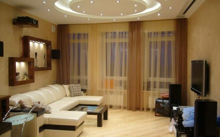 Создание света в комнате с помощью точечных светильников